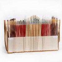 деревянная ручка для волос оптовых-Кисти для рисования с холщовой сумкой длинная деревянная ручка синтетические волосы художественные принадлежности для масляной акриловой акварельной живописи Y19061804