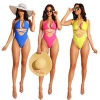 rosa halfter einteiliger badeanzug großhandel-Spaghetti-Bügel-Bikini One Piece Bademode Frauen-reizvolle Chiffon- Halter-Verpackungs-Riemchen Hohle Waist-Strand-Sommer-Badeanzug-Gelb Blau