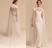 pelerin tül dantel toptan satış-En Yeni Tül Uzun Yüksek Boyun Düğün Cape Dantel Ceket Bolero Wrap Beyaz Fildişi Kadınlar Gelin Aksesuarları Cloak Custom Made