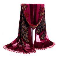 шелковые бархатные шарфы женщины оптовых-New Wine Red Quadrate Women Velvet Silk Beaded Sequin Shawls Scarves Vintage Handmade Embroider Peacock Scarf Wrap 112311