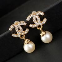 ingrosso nuovo prezzo dell'orecchino di disegno-Nuovi orecchini di design di lusso orecchini di lettera di lusso all'ingrosso Orecchini placcato oro argento di modo per le donne vendita calda