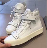 chaussures de sport à glissière pour hommes achat en gros de-Italie Designer Chaussures En Cuir Véritable Plates Chaussures Décontractées D'or Zipper Runner Runing Hommes Et Femmes Haute aide Baskets