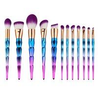 сделать тени для консилера оптовых-12шт алмазный набор кистей для макияжа Eyeshadow Eyeliner Lip Brush Face Blender Powder Concealer Make Up Brushes Инструменты здоровый макияж кисти