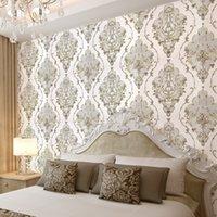 pared de papel dormitorio oro al por mayor-El oro blanco gris de textura de lujo del damasco papel pintado 3D para sala de estar dormitorio Paredes Vinilo floral Europea Wall Paper Rolls