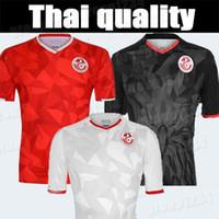 camisetas personalizadas al por mayor-19 20 Selección nacional de Túnez Camisetas de fútbol 7 Msakni 10 Khazri 23 Sliti Wahbi Khaoui FAKHREDDINE BEN YOUSSE HAMZA Camiseta roja personalizada de fútbol
