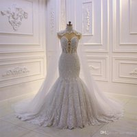 Wholesale crystal shawls for sale - Group buy Vintage Lace Appliqued Wedding Dresses With Detachable Shawls Luxury Sheer Back Plus Size Saudi Arabic Dubai Bridal Gown