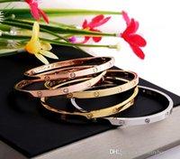 charme armband armbänder zum verkauf großhandel-Heißer verkauf 316L edelstahl marke punk schmalen breiten armreif mit diamant kein schraubendreher für frauen größe armband schmuck PS5370