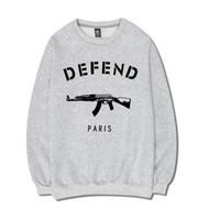 paris hoodie savun toptan satış-Yeni 2019 kış Mektuplar baskılı marka polar DEFEND PARIS erkek sportwear Hoodies ve Kalça pop tişörtü üst