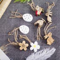 enfeites de frango venda por atacado-Easter de madeira Coelho Pingente Decoração frango flor em forma de ovo de Páscoa Ornamento INS Páscoa Início Decoração da jarda