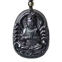 Wholesale buddhist jade for sale - Hand carved The Buddhist Goddess Guanyin Black Obsidian Pendant Necklace Sweater Chain Jewelry Gift