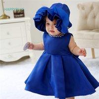 meninas 12 meses de roupa venda por atacado-HAPPYPLUS Vestido Da Menina Do Bebê para o Casamento 3 6 12 18 24 Meses Beads Infantil Primeiro Aniversário Outfit Meninas Crianças Vestidos de Festa Batismo