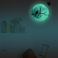 ingrosso orologi da uccello-Orologio da parete orologio di parete creativo luminoso luminescenti Luna verde luminoso sui rami uccello vivo in camera