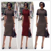 Wholesale tea party clothes for sale - Group buy S XXL Women Designer Bodycon Dresses Summer Luxury Full Printing F Letter Short Sleeves Dress Women F Clothing Party Dresses News C6501