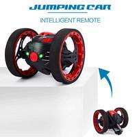controle remoto mini luzes venda por atacado-Mini carros Bounce Car Peg Sj88 2 .4ghz Rc Car Com flexível Rodas rotação Led Light Remote Control Robot Brinquedos do carro para presentes