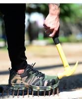 sapatos de segurança ao ar livre venda por atacado-Plus-Size Ao Ar Livre dos homens de Aço Ao Ar Livre Tampão de Dedo Do Trabalho Botas de Segurança Sapatos Homens Camuflagem Do Exército Militar Punção À Prova de Botas