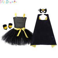 Wholesale batman clothes for kids resale online - Black Girl Batman Tutu Dress Knee Length Bat Girl Birthday Halloween Costume For Photos Baby Kids Clothes Set Y190515