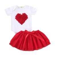 комбинезон для мальчика оптовых-2PCS Newborn Kids Baby Girl Valentine's Day Outfits Clothes Love Heart Romper Bodysuit+Tutu Skirt Cute Baby Girl Clothing Set