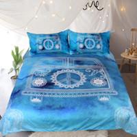 Wholesale mini car set resale online - Hippie Vintage Car Bedding Set Orange Mandala Quilt Cover Peace Design Bed Set Bohemian a Mini Van Bedclothes