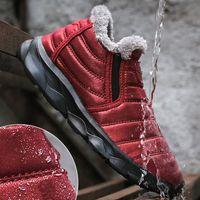 Wholesale anti slip shoes for women for sale - Group buy Waterproof Snow Boots For Women Winter Boots Warm Fur Platform Men Ankle Anti Slip Plush Unisex Couple Big Size Flat Shoe