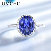Wholesale tanzanite rings for sale - Group buy Umcho Tanzanite engagement rings for women Solid Sterling Silver Gemstone Engagement Ring Sets Wedding Party Gift Rings