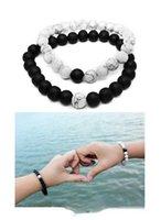 augen türkis großhandel-Neue Modeschmuck 2 Stück / Set Abstand Perlen Armband mit 8mm Tigerauge weiß Türkis schwarz Matt Stein Perlen Charm Armbänder