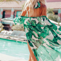 Wholesale robes plage online - Leaves Print Bikini Beach Cover up Tunics for Beach Long Kaftan Bikini Cover up Robe de Plage Sarong Beach Swimsuit cover ups