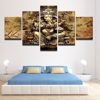 indien elefanten großhandel-Modern HD Printed Canvas Poster Wohnkultur 5 Stück Indien Ganesha Malerei Wand-Kunst-Elefant-Stamm Gott Bilder Unframed