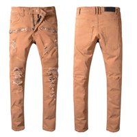 Wholesale famous lighting designers resale online - Mens Designer Pants Skinny Jeans Famous Designer Brand Mens Designer Jeans Solid Color High Street Mens Jeans