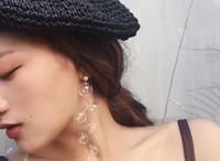 ingrosso orecchini a bolle-Orecchini pendenti con sfere di vetro per le donne Fata una perla elegante Clear Bubble Orecchini lunghi e coreani