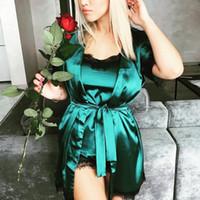 ingrosso accappatoio da donna verde-New Sexy Green Wedding Robes Gowns Women Satin Short Robe Spa Nuziale A strati Fiore Collo Abiti da notte Camicia da notte Accappatoi
