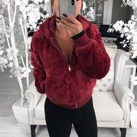 sudaderas con capucha de piel sintética de las mujeres al por mayor-Moda imitación de las mujeres abrigos de pieles caliente del invierno de la felpa Sudaderas Cazadoras Mujer Slim Fit Abrigo Ropa Outwear más el tamaño 3XL