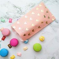 bolsas de color rosa rubor al por mayor-100 unids Bolsa de Favor de Partido Blush Pink Foil Gold Heat Candy Bolsas de Papel Snack Dulce Embalaje para Baby Shower 1er Cumpleaños Invitación Bolsa