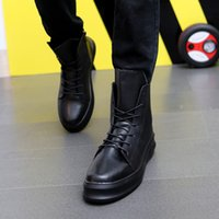 gizli yüksek topuklu ayakkabılar toptan satış-Yüksek Üst Sneakers Adam Siyah 6 cm Gizli Topuk Ayakkabı Mens beyaz Deri Sneakers Erkekler Yan Fermuar Hip Hop Ayakkab ...