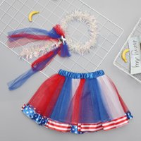 fahne girlande groihandel-Forth of July Baby Mädchen Tutu Rock + Garland National Independence Day Besondere Anlässe Dance Performance Bühnenkleidung Flagge 2019 DHL