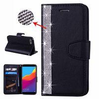 tarjetas de diamante iphone al por mayor-Bling Diamond Funda de cuero para Samsung A50 A30 M30 M20 M10 Huawei P30 Pro P20 Lite P Ranura de la tarjeta de identificación inteligente Cubierta del tirón de la correa de lujo