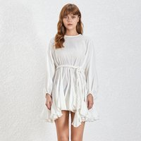 ligne de taille empire col haut achat en gros de-Mode Été Une Ligne Femmes Robe O Cou À Manches Longues Solide Taille Haute Bandage Slim Casual Robes Femme Nouveau 2019