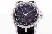 mesa redonda negra al por mayor-Mejor versión 45 mm Excalibur 45 RDDBEX0495 18 k oro blanco Caballeros de la mesa redonda Miyota automático reloj para hombre correa de cuero negro