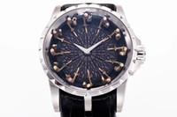 ingrosso orologio da tavolo rotondo-Migliore versione 45mm Excalibur 45 RDDBEX0495 Cavalieri in oro bianco 18 carati della tavola rotonda Miyota Automatic Mens Watch Cinturino in pelle nera