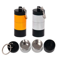Wholesale medicine jars for sale - Group buy Portable Dab Wax Tobacco Container Layers Medicine Box Metal Pill Cases Jars Storage Holder for Dry Herb Herbal Vaporizer Keychain DHL
