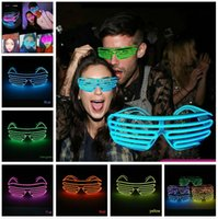 Wholesale graduation party glasses for sale - Group buy Led Party Glasses EL Wire Fluorescent Flash Glass With Window New Year Easter Graduation Birthday Party Bar Decorative Luminous Bar Eyewear