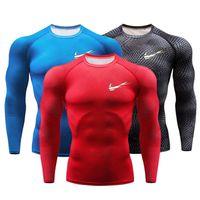 thermische strumpfhosen herren großhandel-Neue MMA3D gedruckt T-Shirts Männer Kompression Shirt Thermal Langarm T-Shirt Herren Fitness Bodybuilding Haut eng schnell trocken