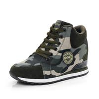 botines de plataforma de lona al por mayor-Nuevo Camuflaje Botines del ejército High Top zapatos casuales Mujer Plataforma Zapatos Lona de cuero Aumento de la altura de las mujeres