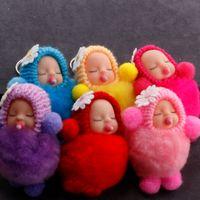 Wholesale baby dolls pacifiers resale online - 6 Styles Sleeping Baby Pendant Keychain Women Bag Accessory Keyfob cm Fur Ball Keyrings pacifier doll pendant key holder Free DHL M204A