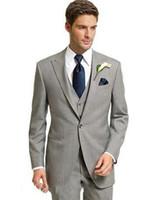 parti için gri smokin toptan satış-Erkekler 3 parça takım elbise açık gri custom made düğün smokin 2019 parti elbise