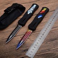 cuchillas de microtecnología al por mayor-MICROTECH cuchillo automático 440C de acero de doble hoja de cuchillo táctico de zinc de aleación de aluminio de la manija supervivencia del bolsillo del cuchillo al aire libre del combate EDC que acampa