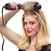 secador de cabelo multifuncional venda por atacado-2 em 1 Multifuncional Secador de Cabelo Volumizador Rotativo Hot Hair Brush Curler Rolo Girar Styler Pente Styling Curling Flat ferro