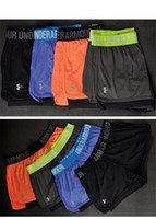 Wholesale women football pants for sale - Group buy U A Women Fitness Yoga Gym Shorts with Liner Sports Elastic Shorts Summer Teenager Running Short Pants Quick Dry Jogger Leggings A51102