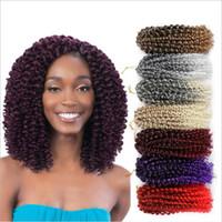 Wholesale freetress braiding hair resale online - Mali Bob Afro Twist Kinky Curly Freetress Ombre Braiding Synthetic Bulk Hair Extensions Crochet Braids Malibob for fashion women