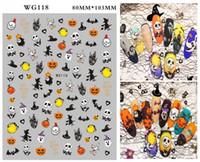 Wholesale nail art stickers halloween resale online - New Halloween Nail Wrap Pumpkin Nail Stickers with Skull Nails Nail Art Stickers Decals Manicure DIY Decoration Tools