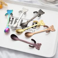 Wholesale long tea spoons resale online - Durable Panda Shape Spoons Lovely With Long Handle Tea Scoop Stainless Steel Hanging Coffee Spoon Anti Wear Free DHL